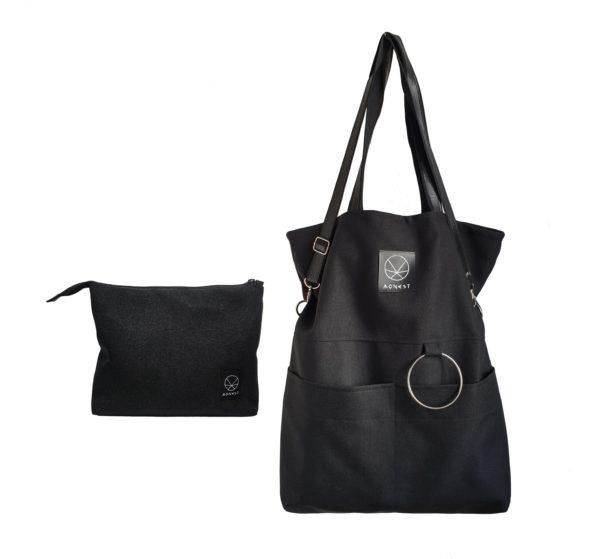 Czarna torba miejska zestaw